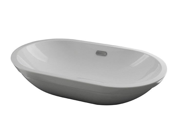 Semi-inset oval washbasin with overflow FORMA | Oval washbasin - NOKEN DESIGN
