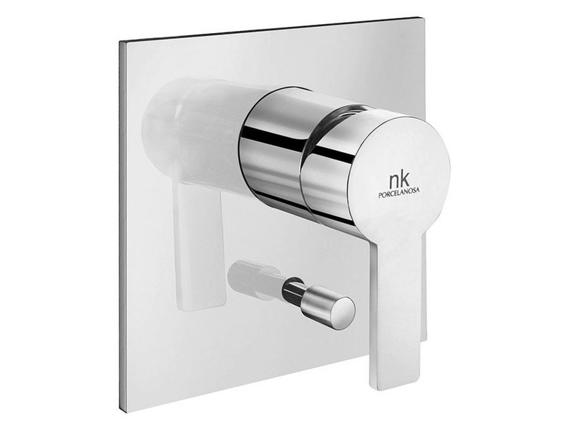 Chrome-plated shower tap with diverter with plate GIRO | Shower tap with diverter - NOKEN DESIGN