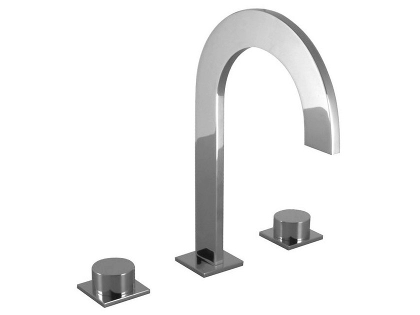 3 hole chrome-plated countertop washbasin tap GIRO | Countertop washbasin tap - NOKEN DESIGN