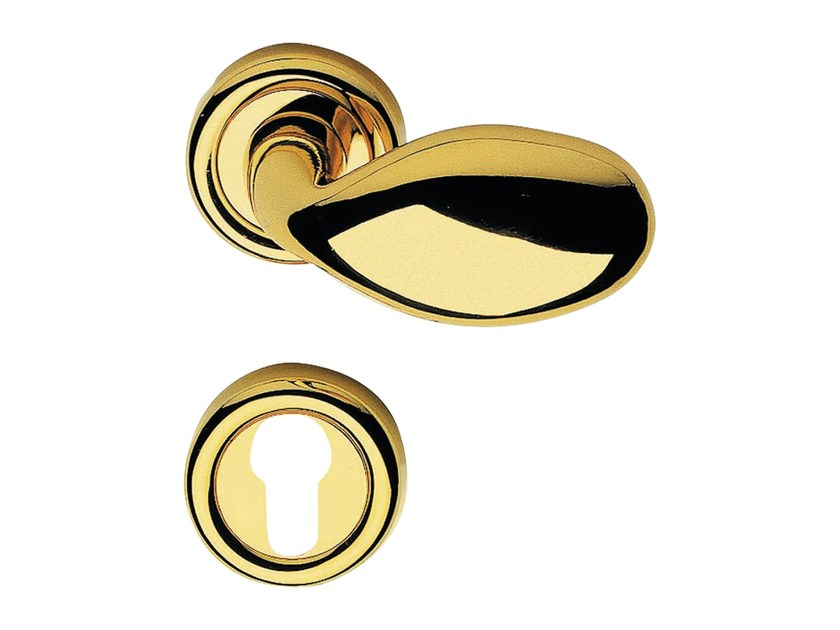 Classic style brass door knob with lock KUBA POMOLO | Door knob with lock by LINEA CALI'