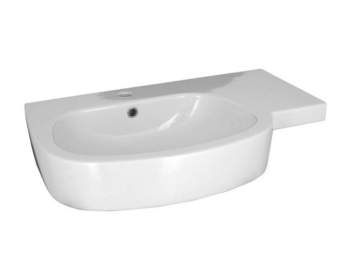 Oval washbasin with integrated countertop with overflow HOTELS | Washbasin - NOKEN DESIGN