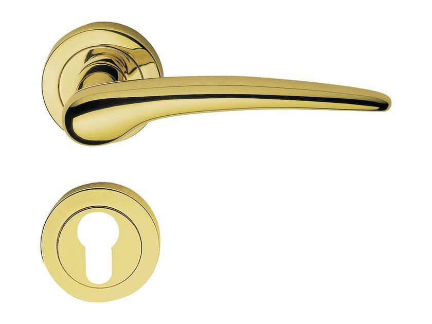 Classic style brass door handle on rose with lock PIN-UP | Door handle with lock - LINEA CALI'
