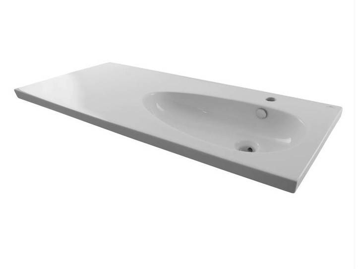 Washbasin with integrated countertop with overflow HOTELS | Wall-mounted washbasin - NOKEN DESIGN
