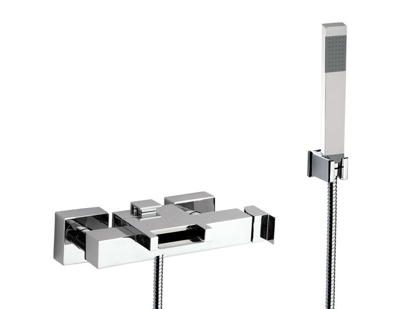 Wall-mounted bathtub mixer with hand shower FLASH | Bathtub mixer with hand shower - Remer Rubinetterie