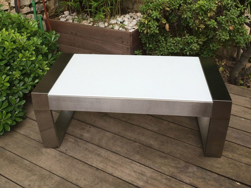 Glass and Stainless Steel garden side table OSCAR GLASS - Lgtek Outdoor
