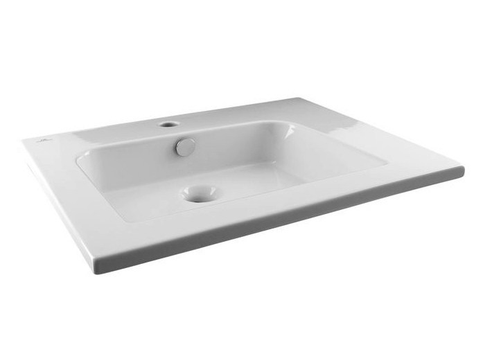 Rectangular single washbasin with overflow NK LOGIC | Rectangular washbasin by Noken