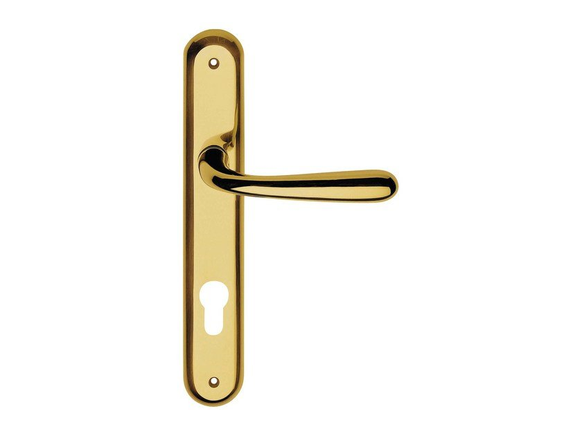 Classic style brass door handle on back plate GARDA | Door handle on back plate - LINEA CALI'