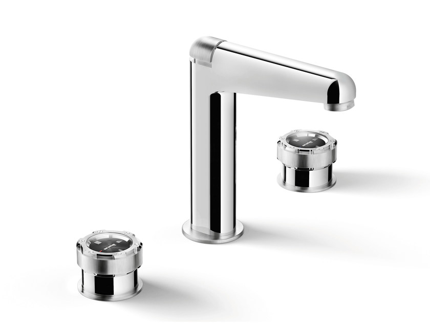 3 hole chromed brass washbasin tap TIMEASTER 3225 by RUBINETTERIE STELLA