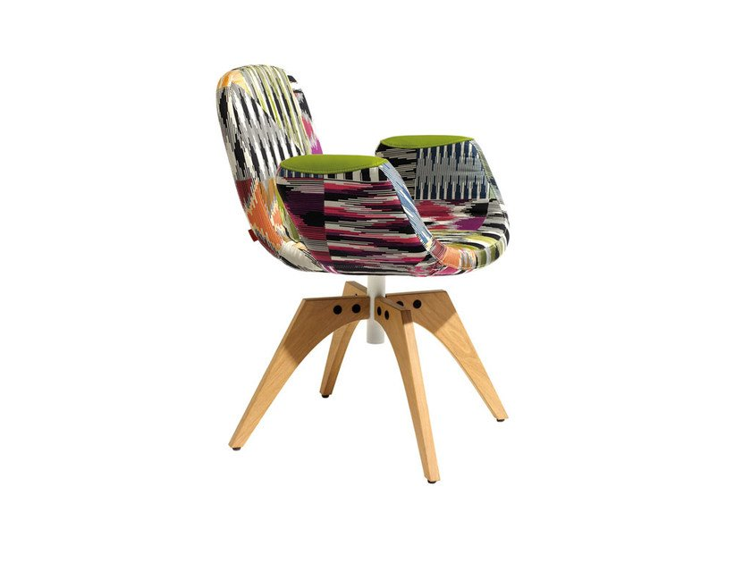 Swivel fabric easy chair PATCH TWO | Swivel easy chair - MissoniHome