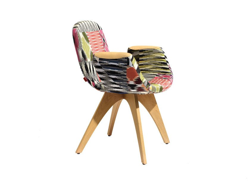 Fabric easy chair with armrests PATCH TWO | Fabric easy chair - MissoniHome