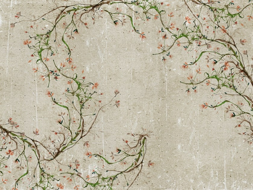 Wall effect bathroom wallpaper with floral pattern NEW ROMANTIC by Wall&decò