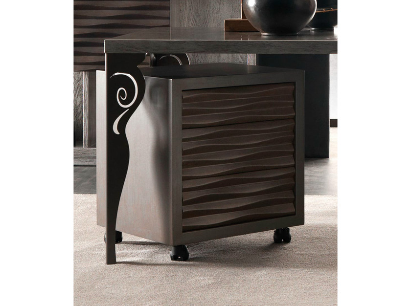 Rectangular bedside table with casters EBON | Bedside table - CorteZari