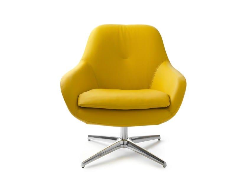 Swivel leather armchair with 4-spoke base SILENE | Leather armchair - LEOLUX