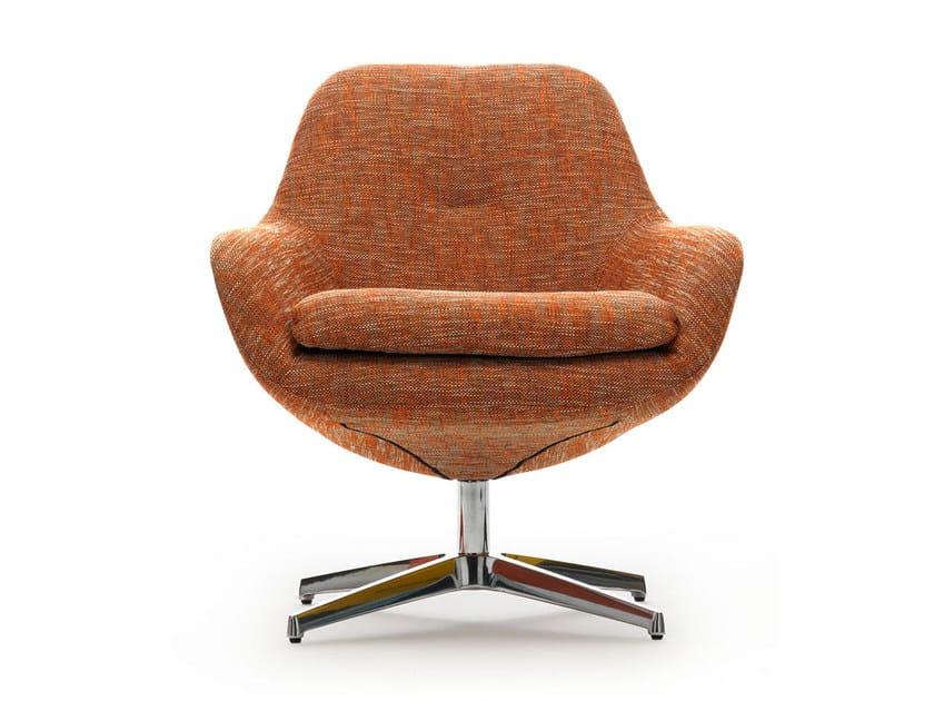 Swivel fabric armchair with 4-spoke base SILENE | Fabric armchair - LEOLUX