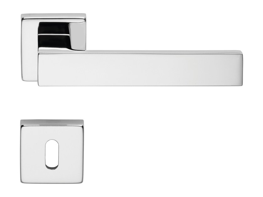 Contemporary style door handle on rose with lock CORNER ZINCRAL | Door handle with lock - LINEA CALI'