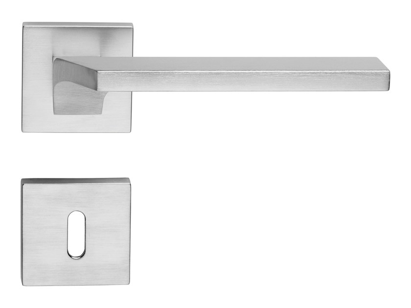 Contemporary style brass door handle on rose with lock GIRO ZINCRAL | Door handle with lock - LINEA CALI'