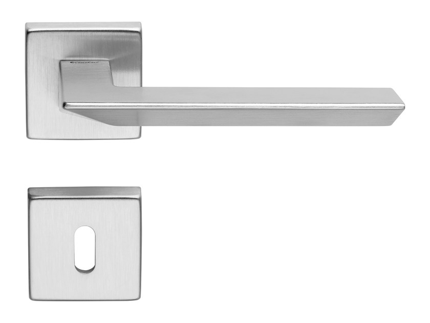 Contemporary style brass door handle on rose with lock TRIO ZINCRAL | Door handle with lock - LINEA CALI'