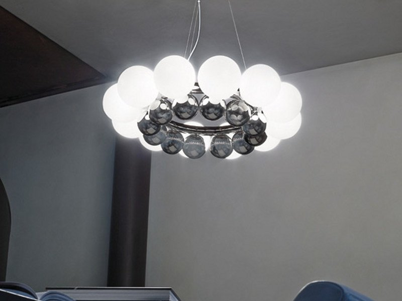 Blown glass pendant lamp 24 PEARLS SP by Vetreria Vistosi