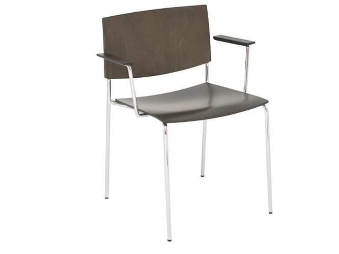 Stackable wooden chair with armrests SIT WOOD | Chair with armrests - Andreu World