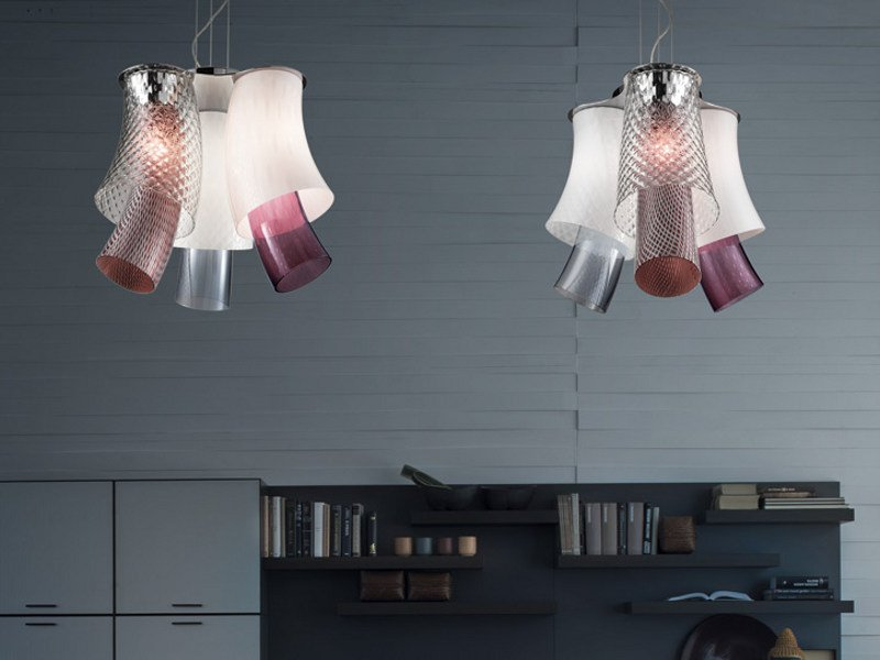Blown glass pendant lamp ASSIBA SP 6 D2 - Vetreria Vistosi