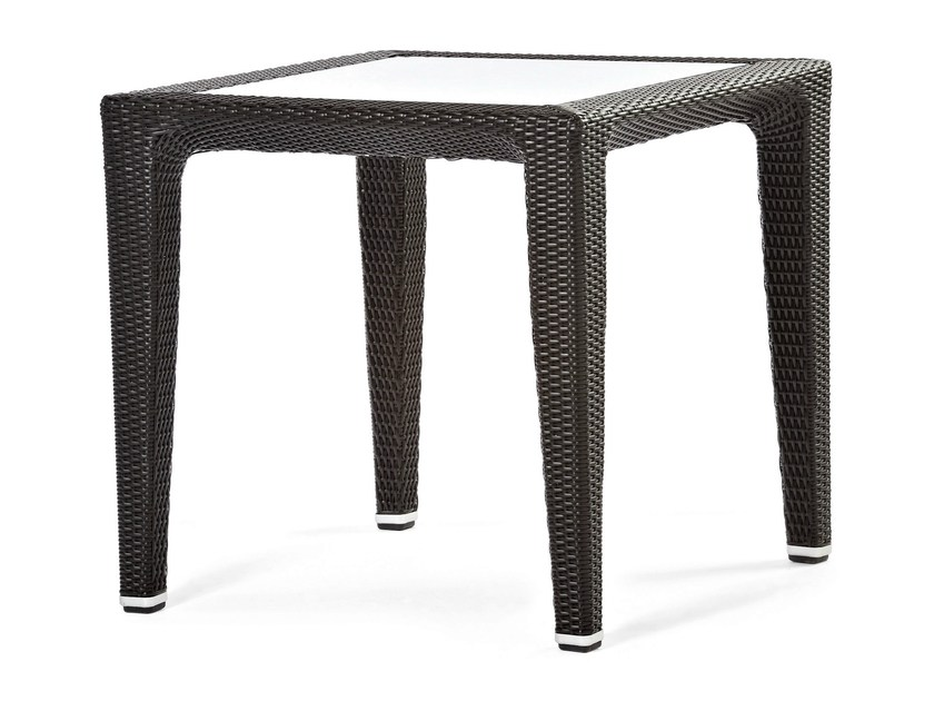Square synthetic fibre table with glass top ALTEA | Square table - Varaschin