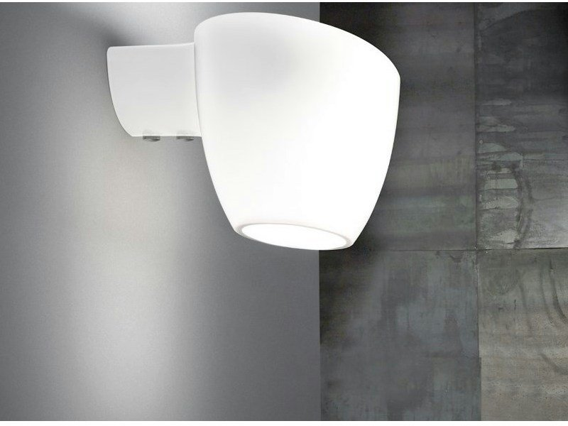 Contemporary style direct-indirect light halogen glass wall lamp COCUMIS AP by Vetreria Vistosi