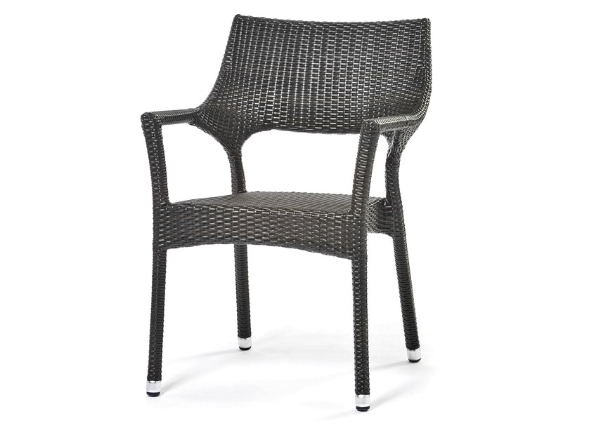 Hand woven man-made fibre chair with armrests CAFENOIR | Chair with armrests - Varaschin