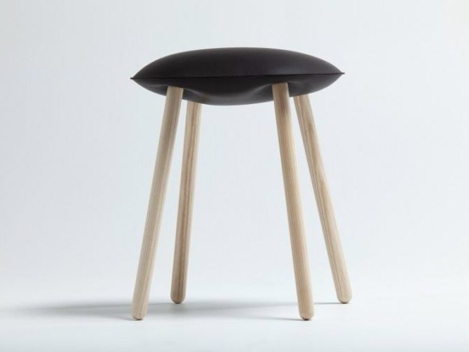 Low upholstered leather stool BLOATED - Covo