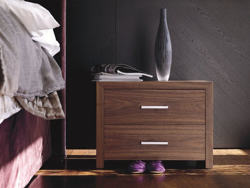 Lacquered wooden bedside table with drawers BT 50.2 - Schramm Werkstätten