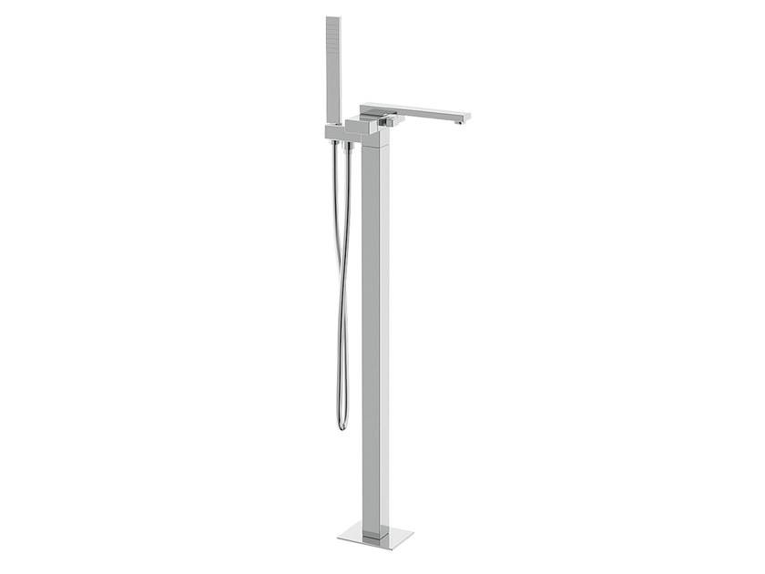 Floor standing bathtub mixer with hand shower TWIN | Floor standing bathtub mixer by Daniel Rubinetterie