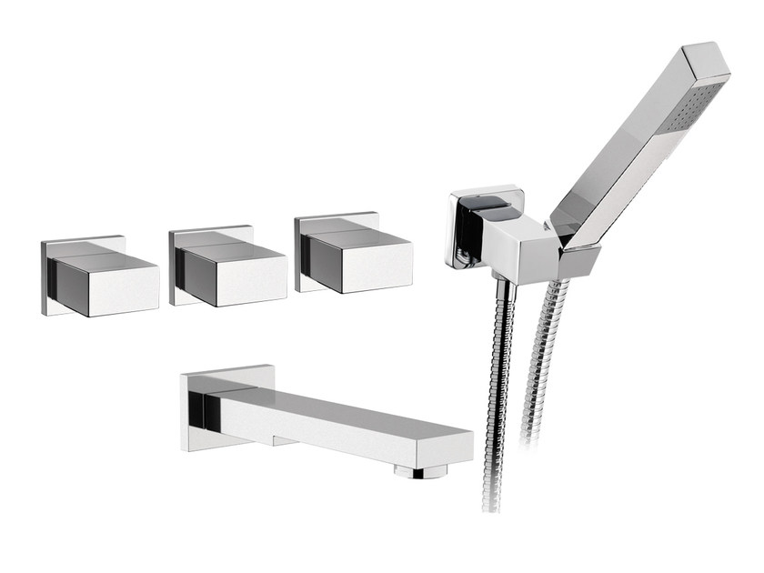 5 hole wall-mounted bathtub tap with hand shower TWIN | 5 hole bathtub tap - Daniel Rubinetterie