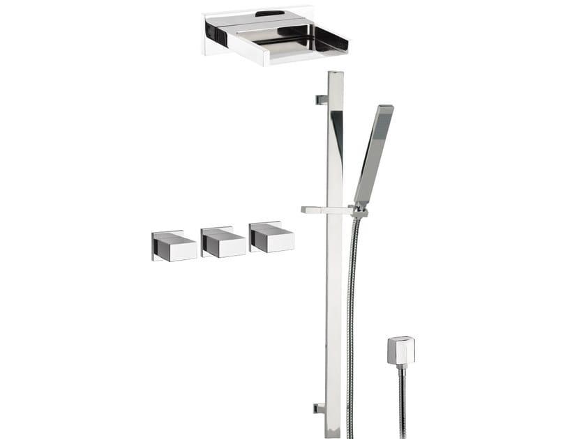 Chromed brass shower wallbar with hand shower with overhead shower TWIN | Shower wallbar with overhead shower - Daniel Rubinetterie