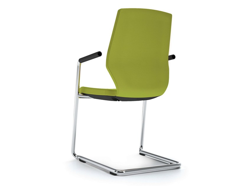 Cantilever upholstered fabric chair with armrests JET II - König + Neurath
