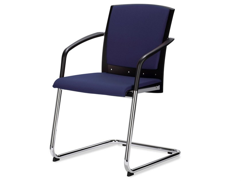 Upholstered chair with armrests TENSA | Cantilever chair - König + Neurath
