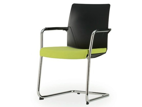 Cantilever upholstered chair with armrests SIGNETA | Cantilever chair - König + Neurath