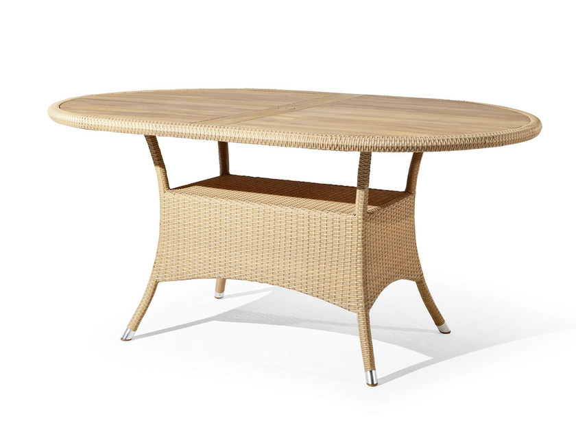 Oval table with synthetic fiber weaving and teak top KRESOS | Oval table - Varaschin