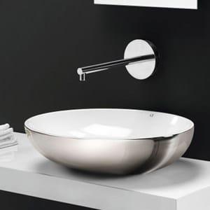 Design countertop ceramic washbasin THIN OVALE - A. e T. Italia