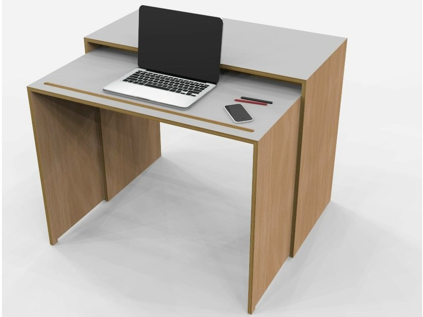 Rectangular multi-layer wood writing desk BUROS - MALHERBE EDITION