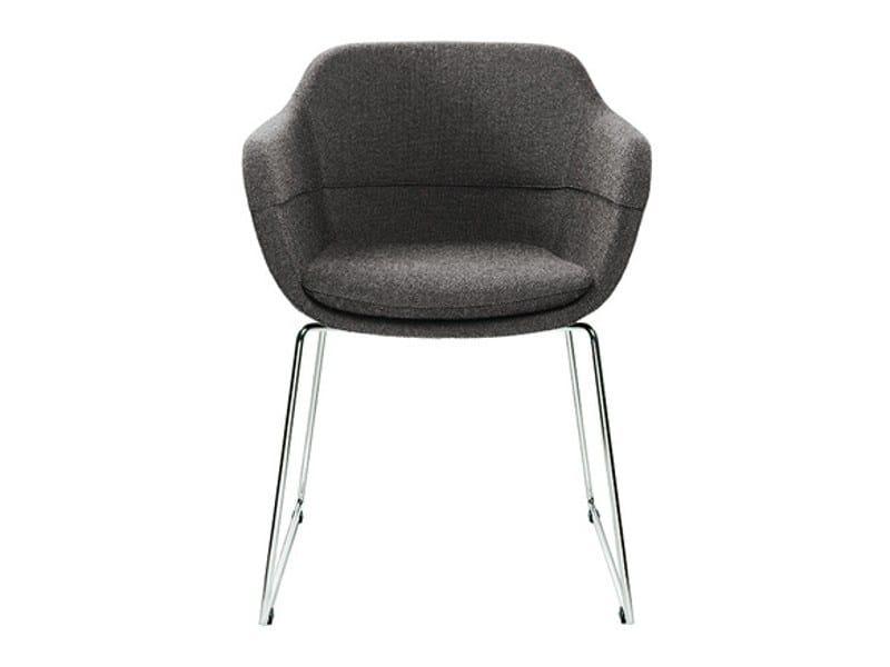 Sled base upholstered fabric easy chair CRONA   Sled base easy chair - Brunner