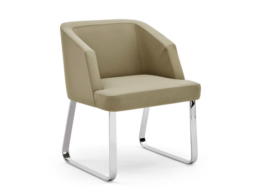 Sled base fabric easy chair VENDOME | Sled base easy chair by Varaschin