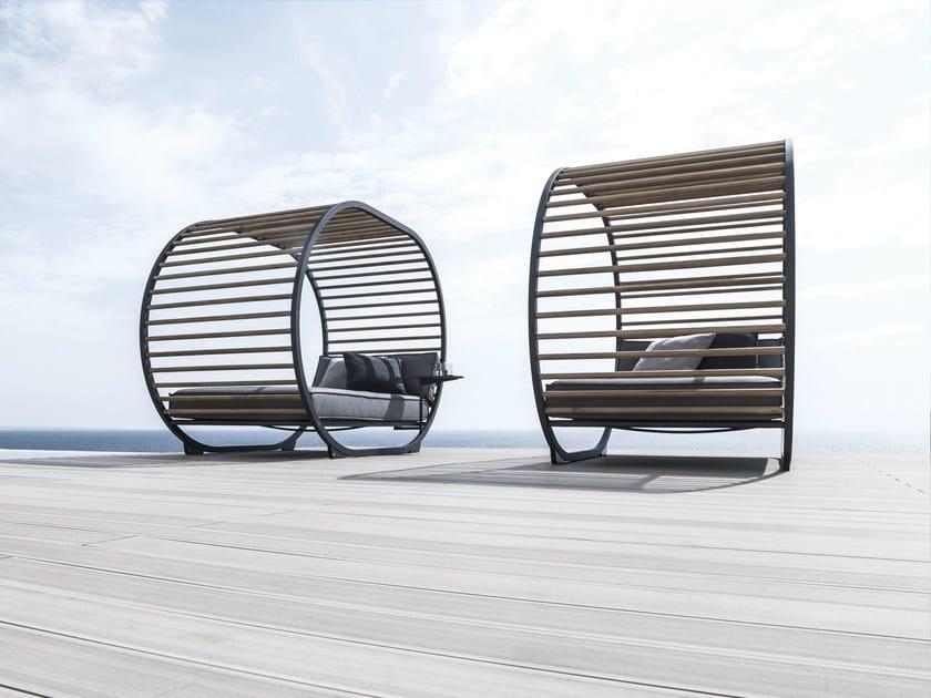 Bain de soleil double en aluminium et bois collection - Acheter bain de soleil ...