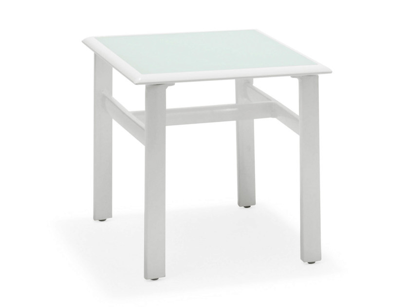 Square glass and steel coffee table VICTOR | Glass and steel coffee table by Varaschin