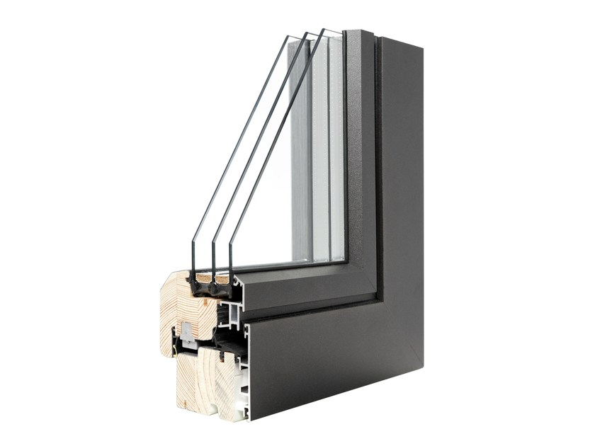 Finestra ad anta ribalta in alluminio e legno con triplo vetro vivaldi complanare italserramenti - Finestre in legno con doppio vetro ...