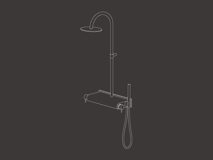Wall mounted external mixer set with hand shower MIL 114 - Ceadesign S.r.l. s.u.