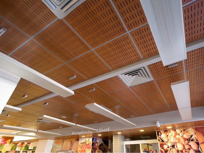 Acoustic MDF ceiling tiles WOOD SHADE LAY-IN 24 by ITP