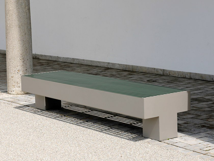 Backless stainless steel and PET Bench COMFONY 800 | Backless Bench - BENKERT BÄNKE