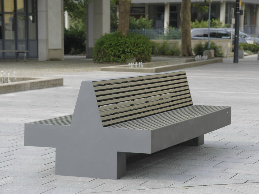 Stainless steel and PET Bench with back COMFONY 800 | Bench - BENKERT BÄNKE