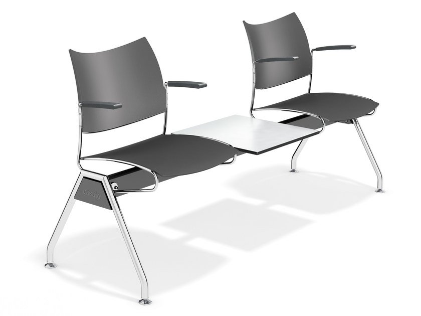 Plastic beam seating with armrests CURVY TRAVERSE   Beam seating - Casala