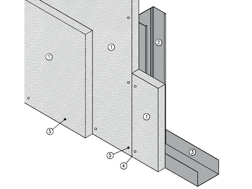 Fireproof panel for interior partition MGO FIRE PLUS® S75/50 - EI120 by ITP
