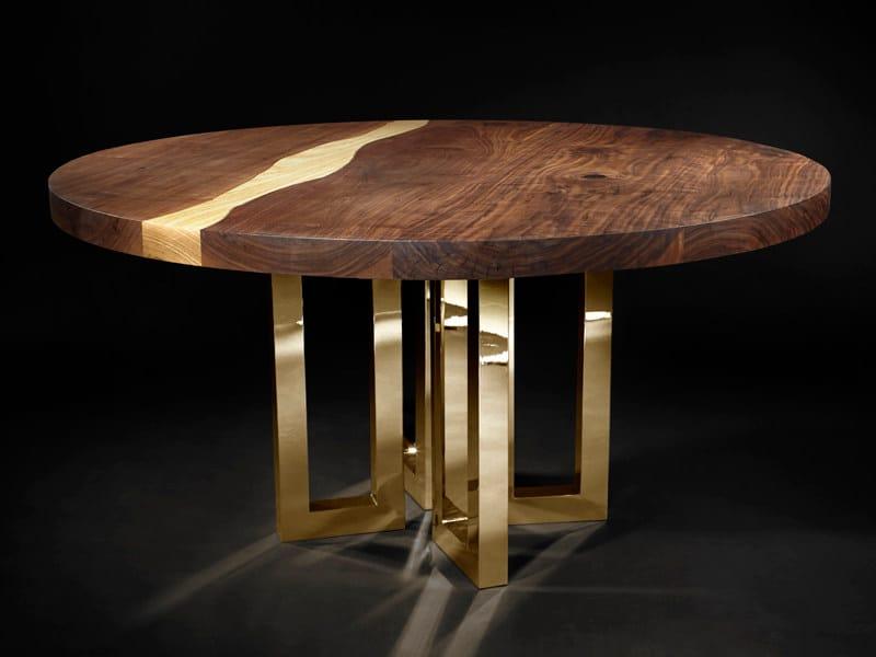 Round custom walnut table IL PEZZO 6 | Round table - Il Pezzo Mancante